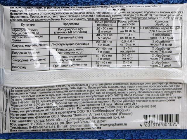 Битоксибациллин применение на крыжовнике